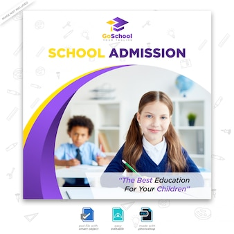 Школьная реклама в социальных сетях или квадратный флаер