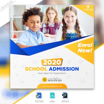 School admission marketing social media post or square flyer template