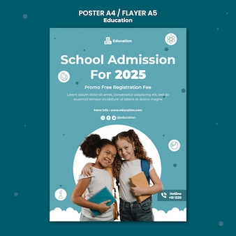 School admission poster template