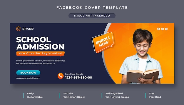 School admission promotional facebook cover template
