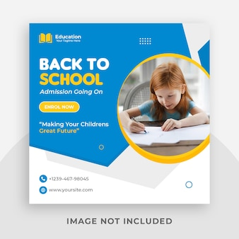 학교 입학 홍보 인스 타 그램 소셜 미디어 게시물 템플릿 및 웹 배너