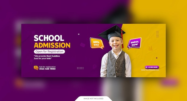 School admission social cover and web banner template