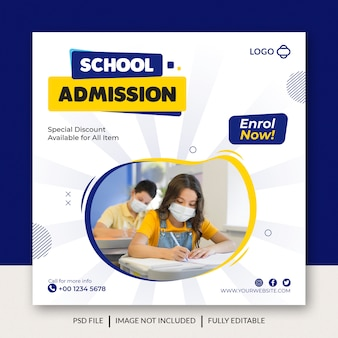 School admission social media banner template