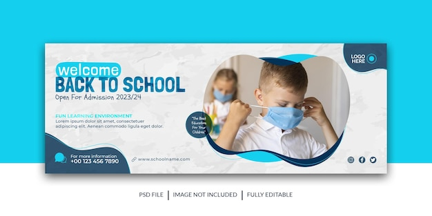 학교 입학 소셜 미디어 표지 다시 학교 배너 프리미엄 템플릿