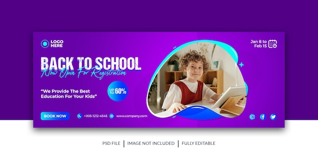 School admission social media cover facebook cover back to school banner premium template