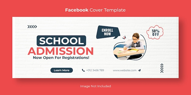 School admission social media facebook cover banner template