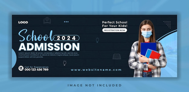 School admission social media facebook cover template