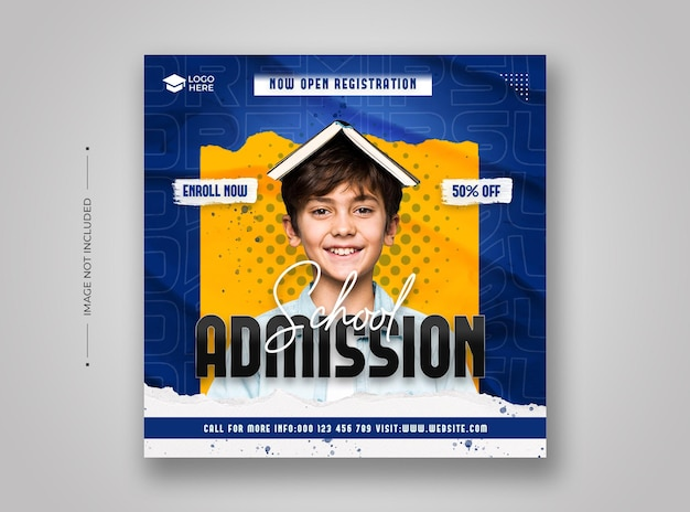 School admission social media and instagram post template