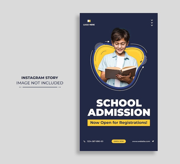 School admission social media instagram story web banner or square flyer template