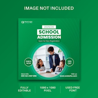 학교 입학 소셜 미디어 게시물 및 웹 배너