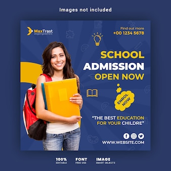 School admission social media post banner template