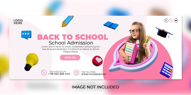 School admission social media post and facebook cover template