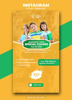 School admission social media post and instagram story template