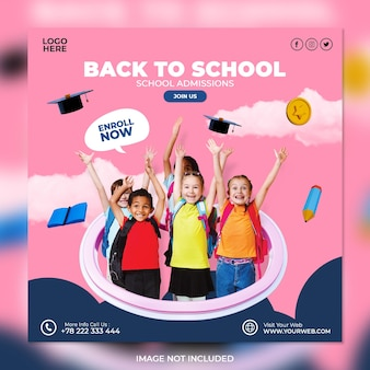 School admission social media post and square flyer template Premium Psd