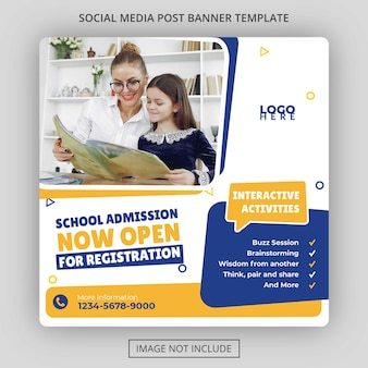 School admission social media post template free psd