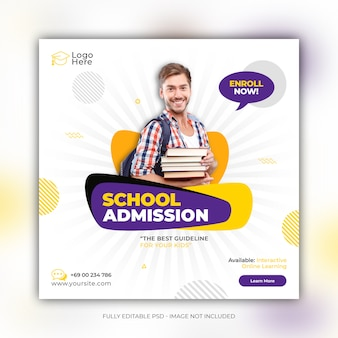School admission social media post template Premium Psd