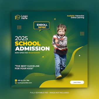 School admission social media post template