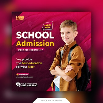 School admission social media post and web banner template