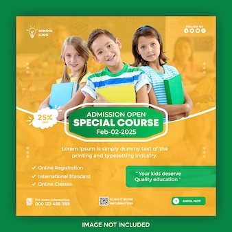 School admission social media post and web banner