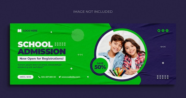 School admission social media web banner flyer and facebook cover photo design template
