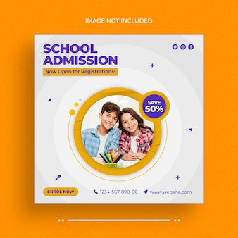 School admission social media web banner and instagram banner post template