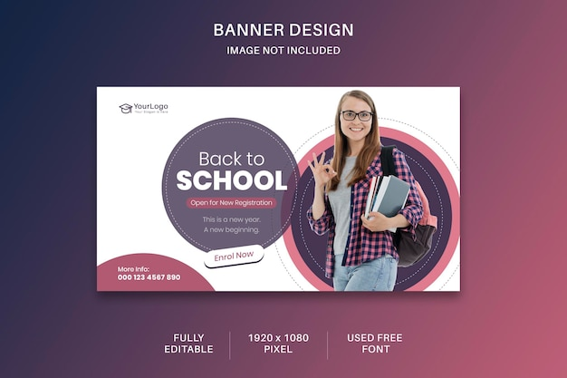 School admission social media and website banner template design for digital media