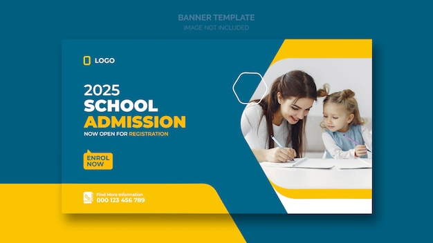 School admission web banner or social banner template