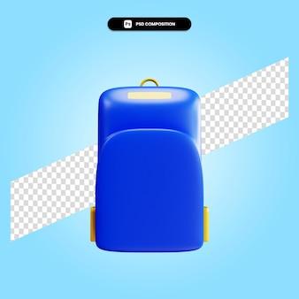 分離された学校のバックパック3dレンダリングイラスト