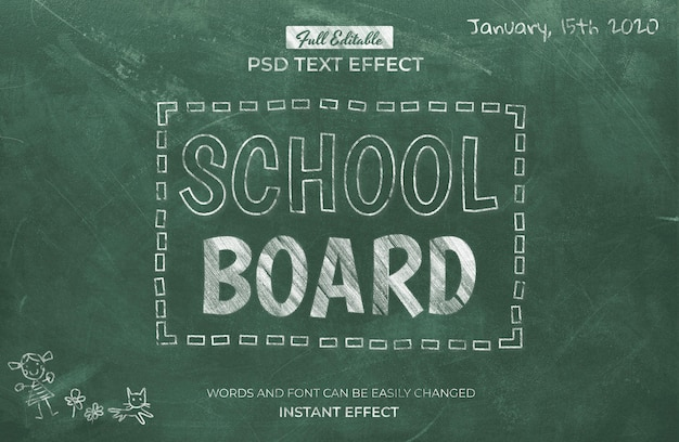 School board text effect