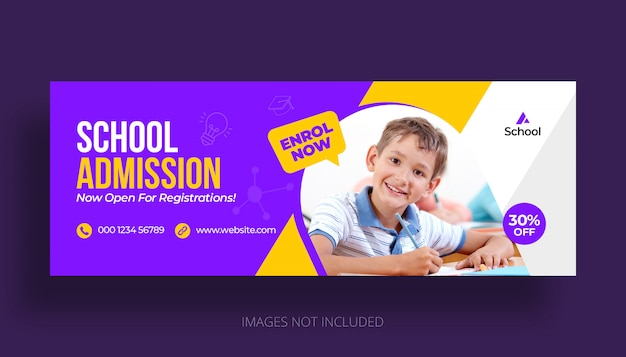 School education admission facebook cover template