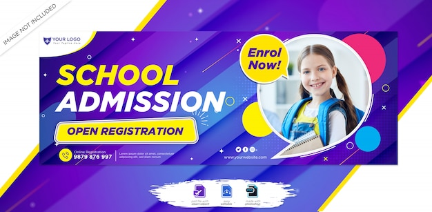 School education admission facebook timeline cover & web banner template
