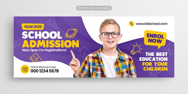School education admission facebook timeline cover and web banner