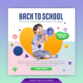 School education admission instagram social media post and web banner template