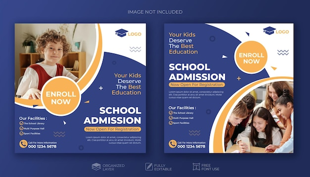 School education admission social media post or square template