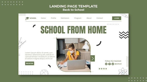 School from home landing page