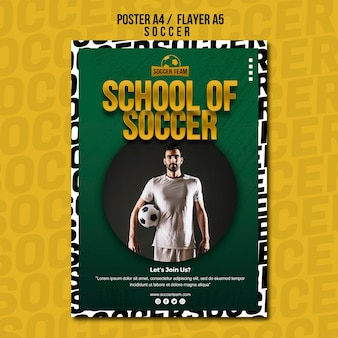 School of soccer poster template