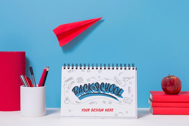 School supplies with mock-up concept