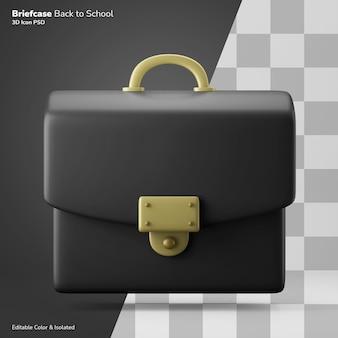 학교 교사 서류 가방 가방 3d 아이콘 렌더링 편집 가능한 색상 절연