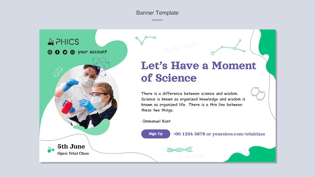 Science banner template with photo