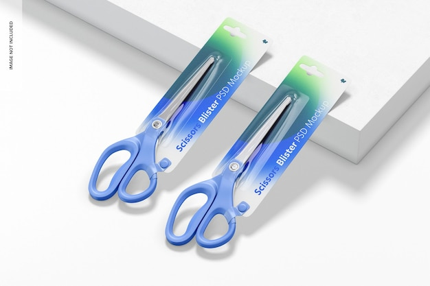 Scissors blister mockup, leaned