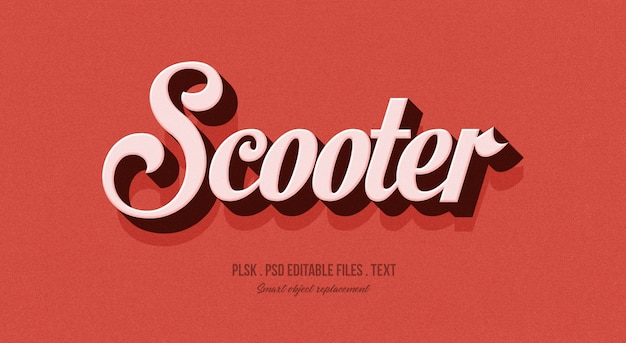 Scooter 3d text style effect mockup