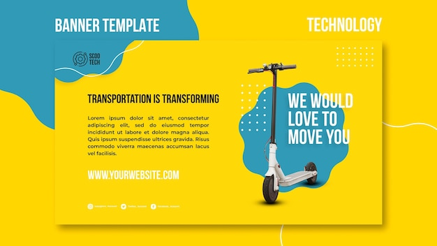 Scooter banner template with photo