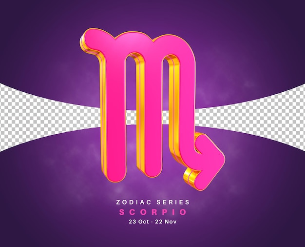 Scorpio zodiac sign series for october and november 3d rendering isolated