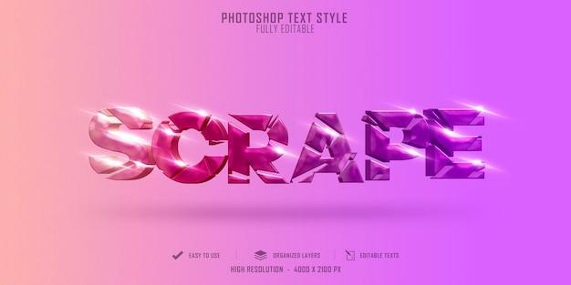 Scrape full color  3d text style effect template premium psd