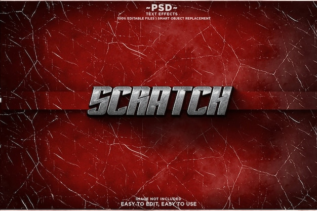 Scratch cracked крутой текстовый шаблон эффекта premium psd