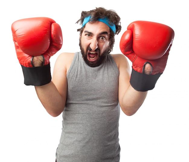 ボクシンググローブと悲鳴を上げるマング
