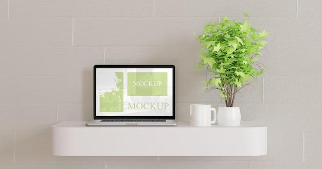 Screen laptop mockup on white wall desk