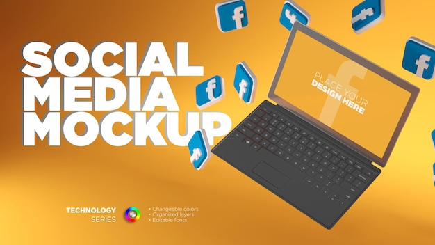 ソーシャルメディアの画面モックアップ