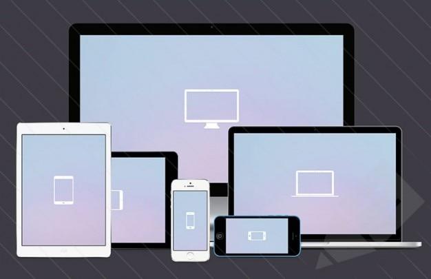 Screen mockups for responsive designs