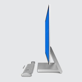 Screen monitor and keyboard mockup